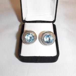 Authentic Judith Ripka Signed Blue Topaz Earrings